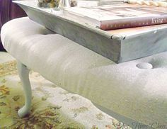 A Coffee Table Repurposed as an Upholstered Ottoman.  See the Before & After at Mrs. Hines' Class
