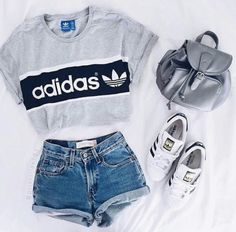 Waist Jeans tshirt Shirt: adidas t- top addidas grey t- denim shorts adidas top crop tops shorts hi. Shirt: adidas t- top addidas grey t- denim shorts adidas top crop tops shorts high waisted shorts Teen Fashion Outfits, Mode Outfits, Look Fashion, Fashion Clothes, Trendy Fashion, Fashion Women, Fashion For Girls, Fashion Spring, 90s Fashion
