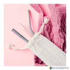 Ditch plastic straws and save the environment with this Silver Steel Straw Set! It includes a bent and straight straw, a cleaning brush and a jute bag. Price includes a Heat Press on the Bag and Laser Engraving on Both Straws (setup fees apply). Jute Bags, Heat Press, Brush Cleaner, Straws, Laser Engraving, Drinkware, Environment, Plastic, Cleaning