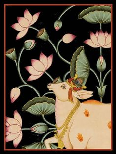 Kerala Mural Painting, Cow Painting, Lotus Painting, Pichwai Paintings, Indian Art Paintings, Madhubani Art, Madhubani Painting, Rajasthani Art, Hare Krishna
