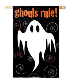"""Ghoul's Rule Applique Halloween House Flag by Evergreen. $11.99. Handcrafted flags made from soft, high-quality special treated fabric. Water repellent & UV resistant to extend the life and vibrancy of the flag. """"The greeting card to your home."""" Decorative flags make for a wonderful home & garden decoration for any occasion.. Save 40%!"""