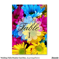 Wedding Table Number Card Daisies Flower Table Cards