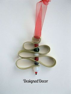 zipper christmas tree ornament, christmas decorations, crafts, seasonal holiday decor