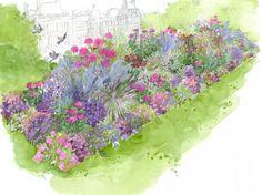 Comment créer une composition estivale et colorée ? Découvrez le patron de nos experts pour vous inspirer ! Verveine rugueuse, Pétunia rose vif, Dahlia, Héliotrope...
