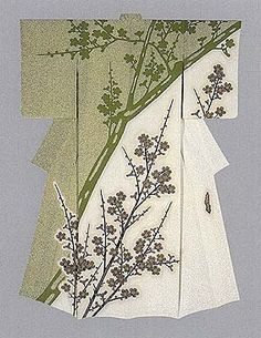 "Formal kimono with yuzen-zome pattern ""Spring Light"" by Moriguchi Kako, Japanese National Living Treasure"