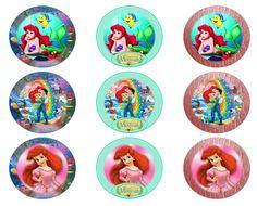 Little Mermaid Cupcakes, Mermaid Cupcake Toppers, Little Mermaid Birthday, Little Mermaid Parties, Ariel The Little Mermaid, Bottle Cap Images, Bottle Caps, Ariel Cake, Disney Printables