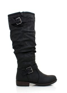 Buckled Riding Boots: You don't need to own a horse to fall in love with these buckled riding boots. The faux leather looks totally chic, and we love the buckle details both at the top and the bottom of the shaft. A zipper on the inside of the boot make these a cinch to get on and off, and we love the way these little beauties look paired with skinny jeans. Boots are lined with faux fur for extra comfort and warmth 5.5 ORG $38.70 SALE $29.04
