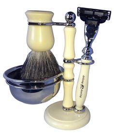 Pure Badger Hair Delong Mens Shaving Set - Ivory color | Shaving Kit | Commanders Closet | www.CommandersCloset.com