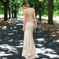 Backless Sequin Gown
