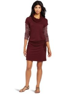 "prAna Women's Becky Dress by prAna. $49.64. Two-fer styling with burnout sleeve. Drop waist with drawcord and raw edge detailing. cotton. Organic cotton french terry dress. Size small=38"" (96.52 cm) length from high point shoulder. prAna Living"