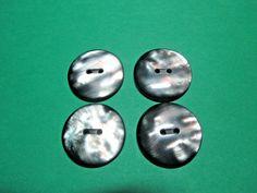 "(4) 1"" DECORATIVE IRIDESCENT GRAY PLASTIC 2-HOLE BUTTONS VINTAGE LOT (N970)"