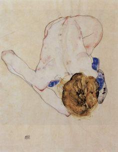 Forward Bent Female Nude –  Egon Schiele