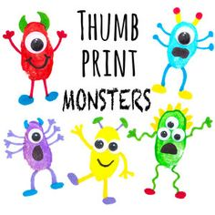 These monster fingerprint pictures are a great and fun craft to do with your child! Create lots of different funny monsters and you could even use them to make greetings cards. Fun Crafts To Do, Easy Arts And Crafts, Sand Crafts, Crafts For Kids, Pig Crafts, Daycare Crafts, Thumbprint Crafts, Fingerprint Crafts, Painting For Kids
