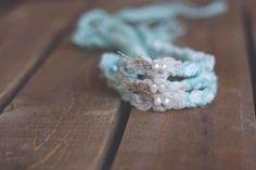 Newborn Tieback Prop - Genuine Fresh Water Pearls and Hand Dyed Lace Spun Merino - Newborn Photography Prop Newborn Tieback Prop