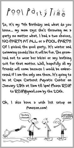 Diary of a Wimpy Kid Custom Pool Party Birthday Party Invitations. $9.99, via Etsy.