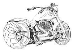 "Pen and Ink drawing of a Harley-Davidson Fatboy, done using Rotring pens. Gone for a slightly ""interpretational"" look as opposed to out-and-out technical drawing. Also, it's been the best part of 30 years since I last did anything like this, so maybe I'm slightly out of practice? ;)"