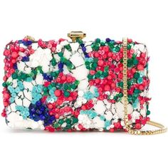 Elie Saab floral print embellished clutch ($1,210) ❤ liked on Polyvore featuring bags, handbags, clutches, borse, white, genuine leather handbags, flower print handbags, leather handbags, real leather handbags and white handbags