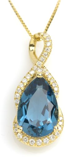 Add a statement necklace to your fall outfit! Item #318-3352416 3.36 ct London Blue Topaz Pear & 0.16 ctw Diamond Round 14K Yellow Gold Pendant Length 18 in