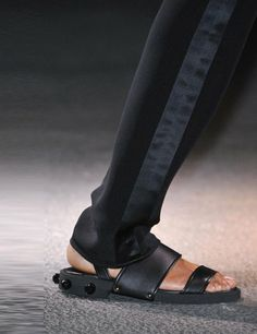 labeled shoes from the runways of 2014 | givenchy-black-sandal-Fashion Week- Best Runway Shoes SS 2014    YUUUUCKKKK!