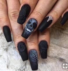 Love this black skull, roses and trees look? So do we! #goth #holloweenallyear #roses #skulls #nails #MyShopStyle #DateNight #GirlsNightOut