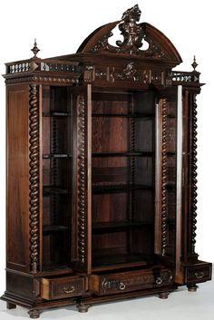 Antique Henri II Walnut Triple Bibliotheque   Antique Bookcases   Inessa Stewart's Antiques