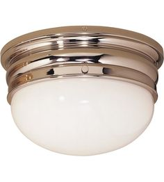 "Visual Comfort E.F. Chapman Crown 2 Light Flush Mount in Polished Nickel CHC4202PN #lightingnewyork #lny #lighting 2-60W 12""x7""H $349"