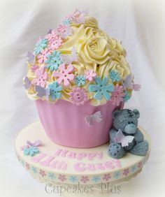 Vanilla flavoured giant cupcake. The colour scheme was mainly chosen to match the pretty ribbon.  Love the pink and blue combination. :) x