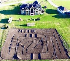 My dream home! Complete with motocross track! Dirt Bike Track, Rc Track, Dirt Biking, Dirt Bike Room, Pink Dirt Bike, Dirt Scooter, Fille Et Dirt Bike, Dirt Bike Quotes, Motorcycle Quotes