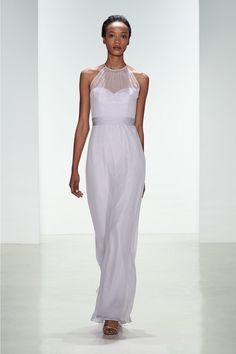Chiffon Bridesmaid Dress from Amsale Bridesmaids. Shown in Lilac.