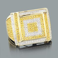 This Trendy White and Yellow Diamond Mens Ring in 10K Gold weighs approximately 9 grams and showcases 1.22 carats of sparkling diamonds. Featuring a unique design and a highly polished gold finish, this fantastic men's diamond ring is available in 10K white, yellow and rose gold.