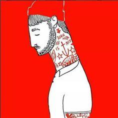 Scruffy Bearded Man with Love Tattoo, illustration.