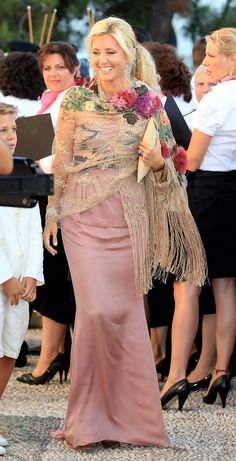 8/25/2010: Crown Princess Marie-Chantal of Greece at the wedding of Prince Nikolaos of Greece & Tatiana Blatnik