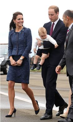 Rebecca Taylor: New Zealand  Thrifty fashionista Kate stayed true to her principles by wearing her tried-and-tested tweed skirt suit by New Zealand-born Rebecca Taylor for her last day on the island, while on tour in 2014 with Princes William and George.   The Duchess accessorized the outfit with a pair of beautiful blue sapphire and diamond drop earrings, a perfect match for her engagement ring, which was formerly owned by the late Princess Diana.