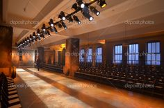 Empty Fashion Runway   Empty fashion show stage with runway, chairs and lights. — Stock ...