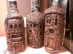 Декор предметов Лепка Итальянский дворик Бутылки стеклянные Глина Кожа Краска фото 1