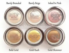Shades of Maybelline color tattoo. I can't get enough of these cream shadows. They are so pigmented!