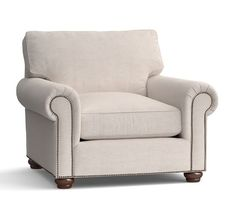 Webster Upholstered Armchair with Nailheads   Pottery Barn