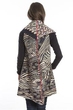 Kantha Patchwork Vest by Mieko Mintz (Cotton Vest) Cotton Vest, Vest Pattern, Clothes Crafts, Simple Outfits, Fashion Outfits, Women's Fashion, Art Clothing, Cycling Clothing, Woman Clothing