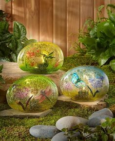 This Solar Glass Garden Stone is a stunning addition to your yard. When the solar panel is fully charged, the stone emits a lovely glow after dark that shows off its nature-inspired design. Decorative Garden Stones, Glass Garden, Outdoor Landscaping, Outdoor Gardens, Outdoor Decor, Outdoor Crafts, Solar Lights, Fairy Lights, Unique Garden Decor