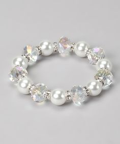 Take a look at this Majestic Faux Pearl & Clear Crystal Stretch Bracelet on zulily today!