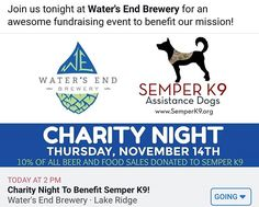 Join us tonight at for an awesome fundraising event to benefit our mission. All Beer, Fundraising Events, Service Dogs, Charity, Benefit, Join, Awesome