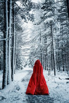 Woman In Red Cloak in Forest by Dave and Les Jacobs for Stocksy United – girl photoshoot ideas Fantasy Magic, Dark Fantasy, Legends And Myths, Girl Photo Shoots, Season Of The Witch, Fantasy Photography, Mystique, Winter Photos, Dark Beauty