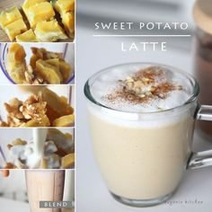 Korean Recipe: Sweet Potato Latte 고구마 라떼 with walnuts, milk, and honey. (additional: instead of sweet potato you can add pumpkin)