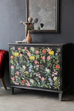 Floral Chest Of Drawers from Rockett St George Decor, Painted Drawers, Furniture Trends, Painted Furniture, Painting Furniture Diy, Upcycled Furniture, Vintage Furniture, Home Decor, Furniture Stores Nyc