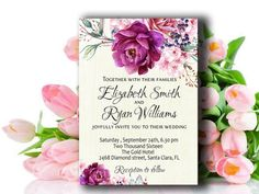 Printable wedding invitation with floral by PrintableMemoriesCo