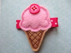 Strawberry Ice Cream Felt Hair Clip. $3.20, via Etsy.