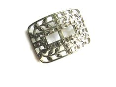 Art Deco Rhinestone Shoe Clip Pave Buckle Pot Metal Rectangle Jewelry Supply Leaves Silveroid F & Co Fishel by vgvintage on Etsy