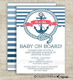 Anchor Boat Nautical Baby Boy Baby Shower Invitation Invitations Baby On Board Printable Personalized - 179174246