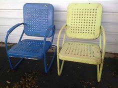 vintage metal rockers | Set-Of-2-Vintage-Metal-Bouncy-Rocking-Patio-Chairs-Blue-Green-Waffle ...
