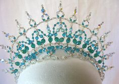 Tiara Princess Turquoise Buy Dance tiaras, Swarovski crystal beaded headpieces for ballet dancers